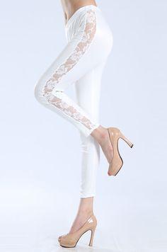 Pantalone bianco con merletto laterale