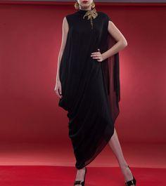 #Black Embroidered #Georgette #Dress