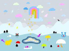 Is raining again, in umbrella land.