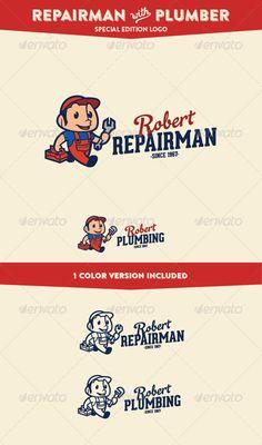 Repairman & Plumber - Service & Maintenance Logo - Humans Logo Templates