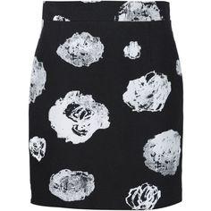 Proenza Schouler Floral Print Mini Skirt ($950) ❤ liked on Polyvore featuring skirts, mini skirts, black, high-waisted skirts, high rise skirts, high waisted mini skirt, straight skirt and short skirts