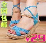 新品推荐 串珠系带 坡跟凉鞋 露趾纯色防水台高跟凉鞋女鞋子-淘宝网