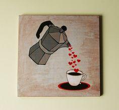 Wooden art block 8x8 Cuban Coffee Maker by BannerDesignShop