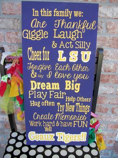 LSU Tigers Family Rules Sign. $45.00, via Etsy. #lsu #tigers #geaux