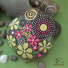 Painted Rock Mandala Rock Design Painted by etherealandearth