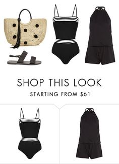 """Black Swimsuit"" by lizzyzi ❤ liked on Polyvore featuring Emma Pake, Calvin Klein and Rebecca Minkoff"