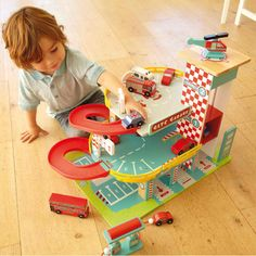 Wooden Toy Car Garage