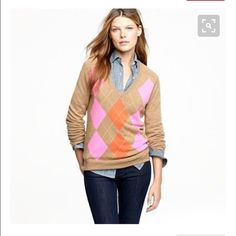J. Crew 100% cashmere sweater Peachy/coral,grey,tan and cream v-neck cashmere argyle sweater. 1st pic is to show how it looks worn. Excellent condition. 100% cashmere. NO TRADES J. Crew Sweaters V-Necks