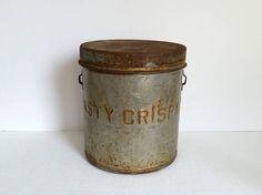 Tasty Crispy Shop Tin . Antique Metal Potato Chip Pail .