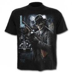 T-shirt homme squelette avec mitraillette prohibition T Shirt, Mens Tops, Fashion, Submachine Gun, Gothic Clothing, Skeleton, Supreme T Shirt, Moda, Tee Shirt