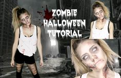 Last minute zombie make-up for Halloween! Simple and scary!