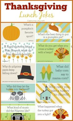 These funny Thanksgiving Jokes will be a hit with all ages. Print them for your Thanksgiving table or stick them in your kids lunch! Thanksgiving Lunch, Thanksgiving Crafts, Thanksgiving Decorations, Thanksgiving Desserts, Pilgrims Thanksgiving, Thanksgiving Sayings, Thanksgiving Activities For Kids, Thanksgiving Prayer, Hosting Thanksgiving