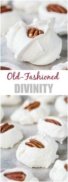 Nothing brings holiday cheer quite like Old-Fashioned Divinity. Soft and fluffy,… Nothing brings holiday cheer quite like Old-Fashioned Divinity. Candy Recipes, Holiday Recipes, Cookie Recipes, Dessert Recipes, Raw Recipes, Yummy Treats, Sweet Treats, Yummy Food, Tea Cakes