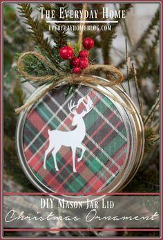 DIY Mason Jar Lid Christmas Ornament | The Everyday Home | www.everydayhomeblog.com