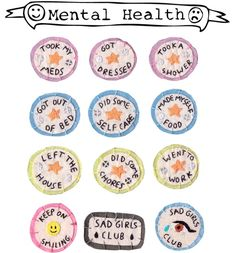 Sad Girls Club: mental health self care merit badges.