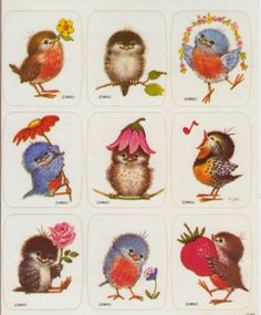 Vintage Drawing Board Bird Sticker Sheet - Flowers Strawberry Chirping New