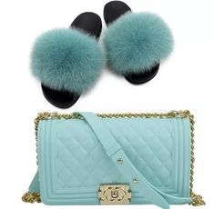 Shoes and purse included. Runs to size. Chanel Purse, Chanel Boy Bag, Chanel Bags, Unique Handbags, Purses And Handbags, Cute Slides, Fuzzy Slides, Fluffy Shoes, Pom Pom Sandals