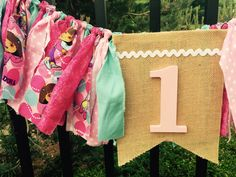 DORA birthday fabric banner garland high chair bunting by Pattycakespapers on Etsy