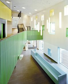 Colourful Ballustrade, would be great also just in wood  Kollaskolan School / Kjellgren Kaminsky Architecture