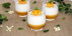 Mousse de chocolate blanco y yogur con gelatina de melocotón