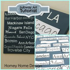 Subway Art Tutorial....http://www.homeyhomedesign.com/2013/03/subway-art.html?utm_source=feedburner_medium=email_campaign=Feed%3A+HomeyHomeDesign+%28Homey+Home+Design%29