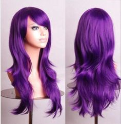 Women's Cosplay Curly Wigs With Bangs Long Curly Hair Fluffy Curly Hair cm) Big Wavy Hair, Full Hair, Loose Wavy Curls, Straight Hair, Long Curls, Thick Hair, Long Hair Wigs, Curly Wigs, Purple Wig