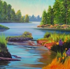 acrylic Canvas Painting Ideas  | American River #1 30 x 30 acrylic on canvas, original painting by ...