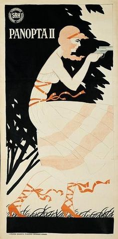 """1918-19 Movie poster for """"Panopta II - horror house on the lake's bottom"""". Panopta was a female detective played by the erotic silent film actress Emilie """"Mille"""" Sannom. The film was the second in the series based on the novel """"Panopta"""" by Zilva Bebe. The Danish artist Sven Brasch (1886-1970) created some of the best posters of the period 1910-1940."""