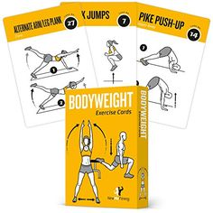 Bodyweight Exercise Cards Home Gym Workout Personal Trainer Fitness Program Guide Tones Core Ab Legs Glutes Chest Bicepts Total Upper Body Workouts Calisthenics Training Routine *** Click on the image for additional details.