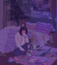 Uploaded by Zahraa A. Find images and videos about girl, art and anime on We Heart It - the app to get lost in what you love. Art And Illustration, Aesthetic Art, Aesthetic Anime, Crying Aesthetic, Aesthetic Drawings, Night Aesthetic, Japanese Aesthetic, Japanese Animated Movies, Sad Art