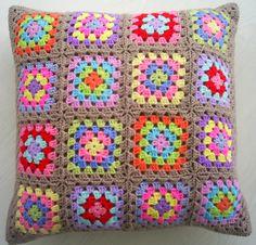 the traditional crochet granny square cushion by handmadebyria, $40.00