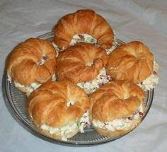 Chicken Salad sandwiches on croissants.  We could also make these with egg salad.  (Both cold)