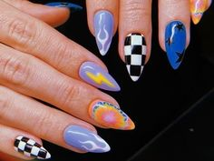 80 cute short nail art design ideas you can copy in 2020 summer 12 Summer Acrylic Nails, Best Acrylic Nails, Acrylic Nail Designs, Nail Art Designs, Acrylic Nails Stiletto, Simple Acrylic Nails, Colorful Nails, Pastel Nails, Nail Design Stiletto