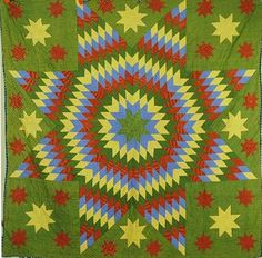 Civil War Quilts: Stars in a Time Warp 10: Green Calicoes
