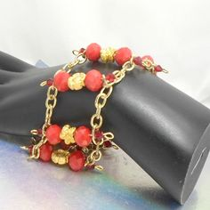 Cuff bracelet 7 1/2 converts to necklace red crystals wirework goldtone chain 17 #Pat2 #cuffnecklacependant