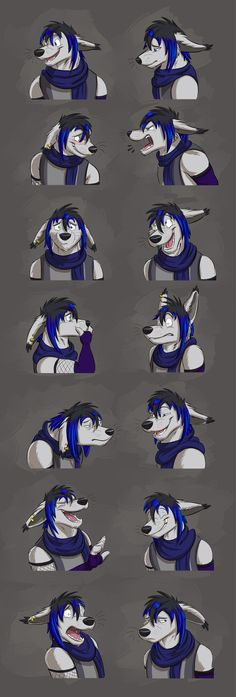 Commission: LycanExorcist (Markus Expressions) by Temiree.deviantart.com on @DeviantArt #anthro #anthropomorphic #canine #cel #celshaded #colored #commission #digital #expression #expressions #expressionsheet #faces #inked #shaded #sheet #wolf #lycanexorcist #art