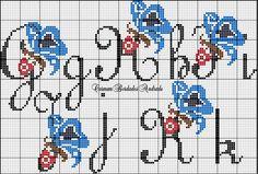 monograma ponto cruz com borboletas - Pesquisa Google