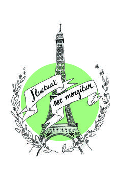 Eiffel tower & Paris' motto by http://cargocollective.com/elisamcgregor