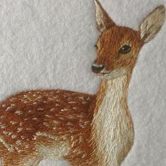 Fallow Dear Original Hand Embroidery