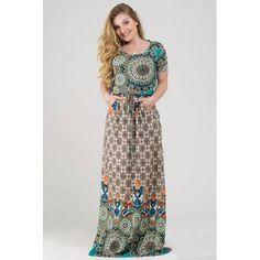Vestido Longo Feminino Estampado Com Manguinha E Bolso! - R  65 36412a96e3f