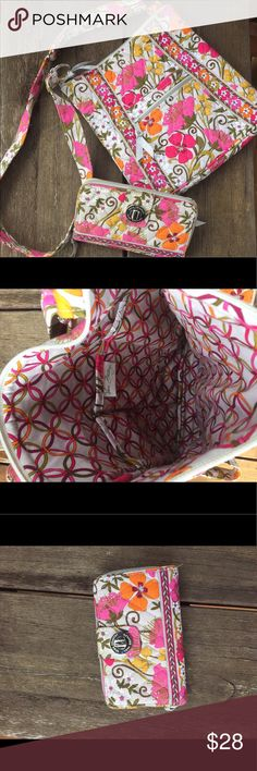 Vera Bradley Purse and wallet These two items are like new never used and are looking for a good home. In excellent condition and these items are perfect for this spring and summer. Vera Bradley Bags Crossbody Bags
