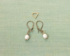 Antiqued Brass and Pearl Earrings by ekate on Etsy, $12.00