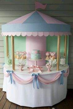 Carrucel Tea Party Birthday, Baby Party, Girl Birthday, Birthday Table, Birthday Ideas, Cake Birthday, Birthday Celebration, Carousel Party, Circus Party