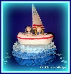 Tarta barco en el mar