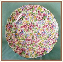 James Kent Chintz China Luncheon Plate Apple Blossom