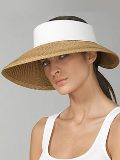 This Eric Javits Halo visor hat has a large brim and is both sophisticated and sportyAdjustable velcro backSpot cleanUPF 50 sun protectionStyle # our hats include hat tape if you need to make the hat smaller to fit your head. Summer Hats For Women, Caps For Women, Medieval Hats, Visor Hats, Straw Visor, Straw Hats, Pool Fashion, Mesh Cap, Fancy Hats