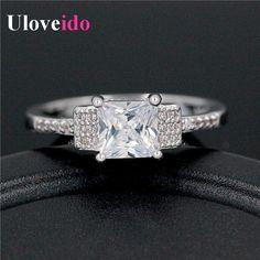 Uloveido Mode Argent Plaqué Anneaux De Mariage D'été pour Femmes Bandes Bijoux De Mariée Carré Anneau Set Cadeaux pour les Femmes Anéis WX018