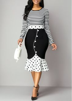 Party Dresses For Women Ruffle Hem Stripe Print Button Detail Dress Women's Fashion Dresses, Sexy Dresses, Beautiful Dresses, Necklines For Dresses, Dresses With Sleeves, Party Dress Sale, African Print Fashion, Indian Fashion, Party Dresses For Women