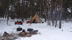 Winter camp at a lake side.