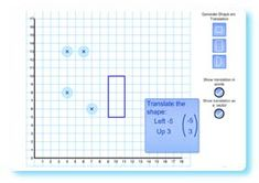 SMART BOARD - Teach the translation of shapes using this interactive whiteboard resource.  Click on one of the shape buttons to the right of the grid to display the corresponding shape in a random position.  A set of instructions for translating this shape will also appear in the blue box.  Drag and drop the four circular markers to the translated position of the shape's corners.  If they are placed in the correct position the translated shape will be drawn on the screen.